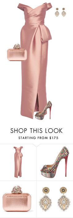 """Untitled #894"" by angela-vitello on Polyvore featuring Monique Lhuillier, Christian Louboutin, Jimmy Choo and Miguel Ases"