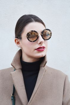 5222dc95f6ab 6 miu miu mirror lenses gold sunglasses fall winter 2015 2016  behindmyglasses.com giulia de martin jill sander coat dolce   gabbana bag  zara shoes