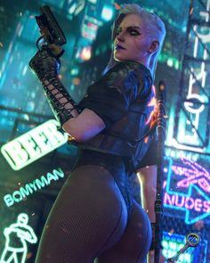 Another fantasy about Ciri (the Witcher) in Cyberpunk 2077 setting. Art by Bomyman. I think that there are a lot of Easter eggs. Cyberpunk 2077, Cyberpunk Kunst, Cyberpunk Girl, Cyberpunk Anime, Anime Sexy, Manga Sexy, Fantasy Women, Fantasy Girl, Science Fiction