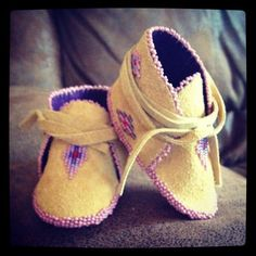 Inuit made baby girl's leather beaded booties 2 by Inuk