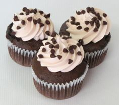 """As someone once said, """"Chocolate, men, coffee — some things are better rich.""""  We can give you 2 out of 3 with our Mocha Chocolate Chip cupcake!  It's a Dark Chocolate cake infused with a Mocha flavoring filled with Hot Fudge and mini Chocolate chips. Topped with a Mocha Buttercream frosting and sprinkled with mini Chocolate chips. #cupcakes #cupcakedesign #mocha #chocolate"""