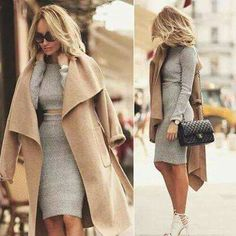 Camel coat outfit, grey knit skirt and crop top set, long coat outfit