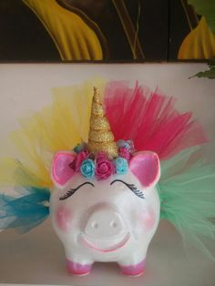 Money Box, Elegant Table, Paper Mache, Craft Fairs, Piggy Bank, Birthday Candles, Craft Projects, Cute Animals, Baby Shower