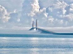 Tampa, Saint Petesburg, Florida Sunshine Skyway Bridge.