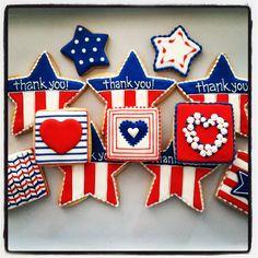 of July sugar cookies by Oh Sugar Events Sugar Cookie Frosting, Royal Icing Cookies, Blue Cookies, Fancy Cookies, Iced Cookies, Cupcake Cookies, Cupcakes, Frosted Cookies, Summer Cookies