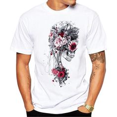 Men's Print Skull T-shirt Men Short Sleeve O-Neck White Tshirt Tops TeeT Shirt   <   Time is the one thing you can't buy or buy back  www.planetoutrage.co.uk