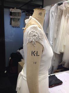 Work in progress,vintage inspired , Silk georgette over heavy crepe Antibes . Embellished Wedding Gowns, Unique Wedding Gowns, Couture Wedding Gowns, Unique Weddings, Antibes, 1930s, Getting Married, Vintage Inspired, Silk