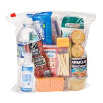 Create a food basics care package with items from Dollar Tree