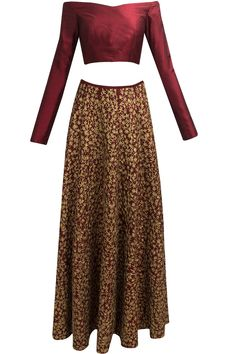 Maroon and gold floral embroidered lehenga set available only at Pernia's Pop Up Shop.