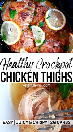 Best keto chicken thighs in slow cooker. This cheap keto dinner is so simple to make and always cooks up perfectly tender and with melt-in-your-mouth consistency. Try this easy slow cooker chicken quarters recipe for some unbelievably tasty chicken! Low Carb Crockpot Chicken, Stew Chicken Recipe, Keto Crockpot Recipes, Lunch Recipes, Slow Cooker Recipes, Dinner Recipes, Crockpot Meals, Slow Carb Recipes, Freezer Recipes