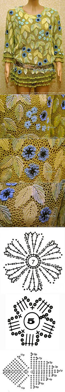 """Tunic """"Spring Sketch"""" - crochet lace"""