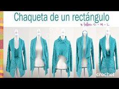 Chaqueta fantasía turquesa tejida de un rectángulo a crochet en 3 tallas: Small, medium y large! - YouTube