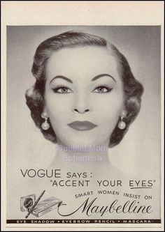 1951 Maybelline Eye Make-up Print Ad // Retro Make-up Ad // Vintage Maybelline Advertisement // Retro Maybelline // Cover Girl Model