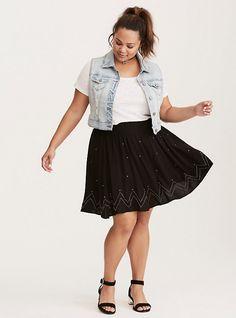 Embellished Stretch Challis Skirt, DEEP BLACK