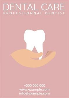 Poster template dentist care tooth for a 'professional dentist' with an illustration of a hand holding a tooth. Create Flyers, Hand Holding, Flyer Template, Tooth, Templates, Illustration, Poster, Beauty, Stencils