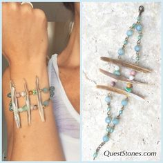 Be a #warrior today in this handmade art piece by #jessicahannum #QuestStones www.QuestStones.com #shells #beachgoddess #beadedbracelets #artsyjewelry #bohostyle #beachjewelry #opalbracelet