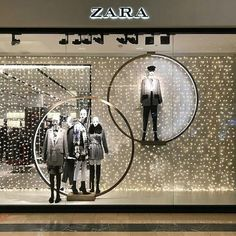 """ZARA, Arena Plaza, Budapest, Hungary, """"Magic... Is all around, you just have to believe"""", photo by Fer Jonathan, pinned by Ton van der Veer Winter Window Display, Fashion Window Display, Window Display Retail, Window Display Design, Retail Interior Design, Showroom Design, Visual Merchandising Displays, Visual Display, Showcase Store"""