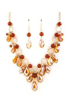 Briella Necklace in Autumn Crystal.