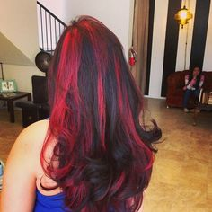 Black & red hair but with a more natural or darker red Black Hair With Red Highlights, Ash Brown Hair Color, Ombre Hair Color, Love Hair, Great Hair, Hair Today Gone Tomorrow, Gorgeous Hair Color, Coloured Hair, Hair Inspiration