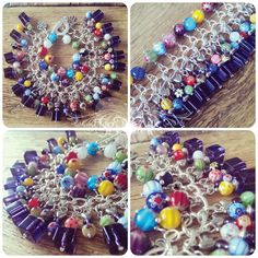 Stunning chunky style Charm Bracelet, gorgeous Millefiori glass beads and rich purple glass cubes #handmade #charm #charms #bracelet #purple #glass #beads #fashion #accessories #jewellery #madeinuk #fromtheattic #colourful #handmade #madetoorder