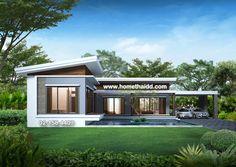 แบบบ้าน,บ้าน,แบบบ้านชั้นเดียว,รับสร้างบ้าน,รับเหมาก่อสร้าง,แบบบ้านฟรี,แบบบ้านราคาถูก Home Modern, Modern Bungalow, Modern House Plans, Bedroom House Plans, Dream House Plans, House Floor Plans, Loft House, House Roof, Country House Design