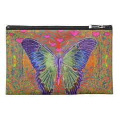 Butterfly with little hearts in a pattern. travel accessories bag by Amelia Carrie