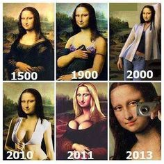 Mona Lisa through the ages. This made me laugh!