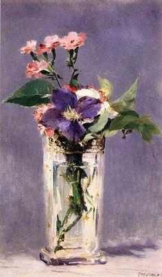 Cravos e Clematis em um vaso de cristal  Édouard Manet - circa 1882 Museu D'Orsay - Paris   As naturezas-mortas de Manet, entre tradição e modernidade, evocam um mundo elegante e sensual.   Ao contrário de Courbet, que estabeleceu seus temas em uma realidade prosaica, ou Cézanne, cuja visão foi voluntariamente distante, Manet encontrou inspiração nos temas mais comuns, à qual ele deu uma presença carnal.   Apesar de sua simplicidade, suas composições foram sutilmente elaboradas, quer se…