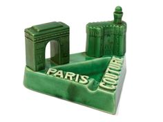 Paris Couture Ashtray. Green Ceramic French Advertising Cigar Ashtray. Paris Decor Arc de Triomphe. Mid Century Barware