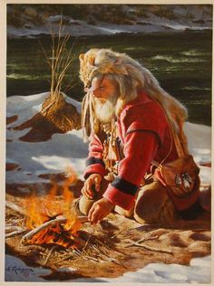 Original Painting, A Warming Fire by Alfredo Rodriguez