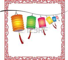 Cadena de colgantes brillantes faroles decoraciones chinas photo
