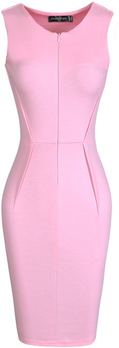 jeansian Women's Formal Slim V-Neck Sleeveless Pencil Dresses Pink XXS Pink Outfits, Classy Outfits, Short Dresses, Dresses For Work, Formal Dresses, Dress Suits, African Dress, Pencil Dresses, Couture Fashion