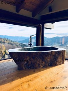 31 Adorable Stone Bathtub Design Ideas With Natural Accents To Have Asap - Your bathroom should just not look like a space for cleaning up; rather it should be designed like a personal sanctuary or spa to relieve the stress o. Luxury Bathtub, Modern Bathtub, Stone Bathtub, Stone Sink, Natural Stone Bathroom, Natural Stones, Dream Bathrooms, Beautiful Bathrooms, Marble Bathtub