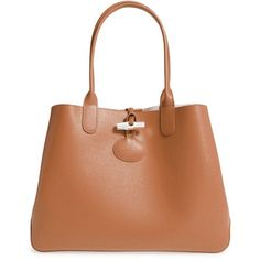 Longchamp 'Roseau' Reversible Leather Tote (9,710 MXN) ❤ liked on Polyvore featuring bags, handbags, tote bags, longchamp tote, leather tote purse, hand bags, handbags totes and leather handbags
