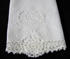 Vintage White Linen Cutwork and by TwoCousinsCollection on Etsy