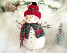 Your place to buy and sell all things handmade Snowman Ornaments, Christmas Snowman, Christmas Holidays, Christmas Ornaments, Snow Men, Pink Cheeks, Make Happy, Arm Knitting, Holiday Tree