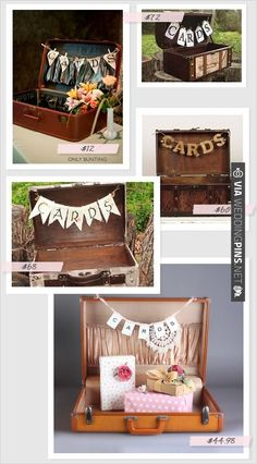 vintage suitcases for cards with pricing ideas | VIA #WEDDINGPINS.NET