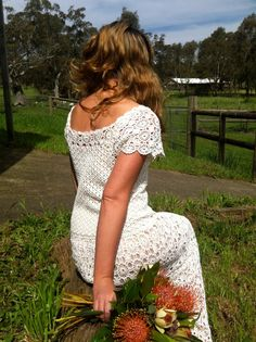 vintage 60's crochet wedding dress $250