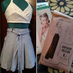 #VintagePledge make no. 2! The bra top wasn't part of my original pledge but couldn't resist after seeing all the bra tops out for spring/summer this year! Chambray pleated shorts from the Superior pattern :) #simplicitypatterns #vintagepattern