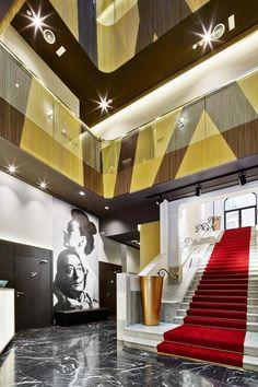 Kriskadecor for new Hotel Vincci Gala in Barcelona Mosaic Designs, Geometric Designs, Stair Railing, Stairs, Gala Design, Gold Color Scheme, Hotels, Hotel Lobby, Common Area