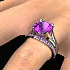 Enrapture Ring with matching band in amethyst