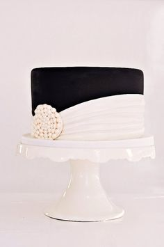 Black & White Pearl Medallion Cake, 5-layer dark chocolate cake with ...