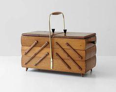craft storage box Vintage wooden sewing box vintage storage box 1970s sewing box retro plastic storage box