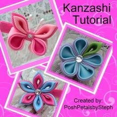 Kanzashi flower and butterfly boutique hair clip PDF tutorial by poshpetalsbysteph for $8.95