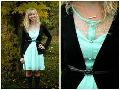 Layering a summer dress for fall- boots, cardigan & skinny belt