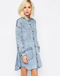Image 1 ofVero Moda Denim Shirt Dress With Pockets