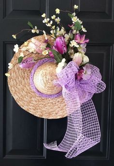 Easter Wreath Straw Hat Spring Wreath Lavender and Cream Floral Wreath with Lavender Deco Mesh Bow Wreath Crafts, Diy Wreath, Door Wreaths, Wreath Ideas, Door Crafts, Yarn Wreaths, Ribbon Wreaths, Tulle Wreath, Hat Crafts