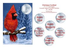 Christmas Cardinal  5 x 7 Card Topper With by DigitalHeaven