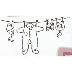 Rubber Stamp Baby Washing Line