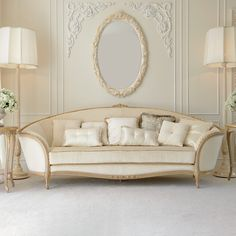 Luxury Italian Ivory Louis Reproduction Sofa at Juliettes Interiors - Chelsea, London.